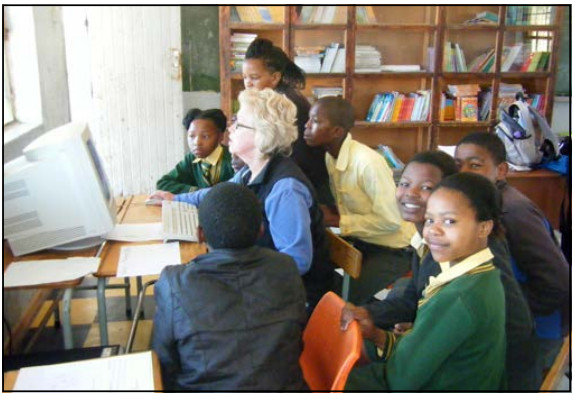 Stephany with pupils at Mabandla Primary School 2011- click to return
