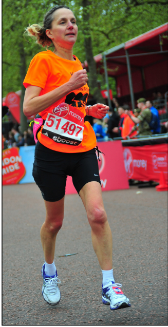 Karen at Marathon 2015- click to return